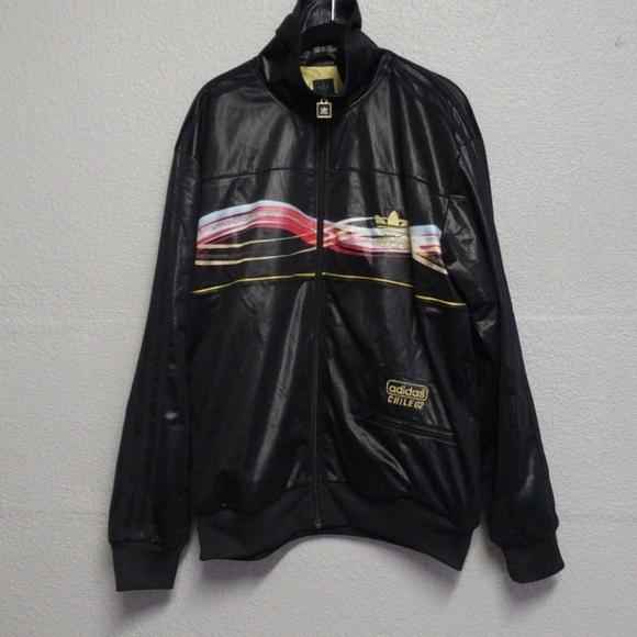 Unisex Adidas Chile62 Black and Gold Bomber Jacket